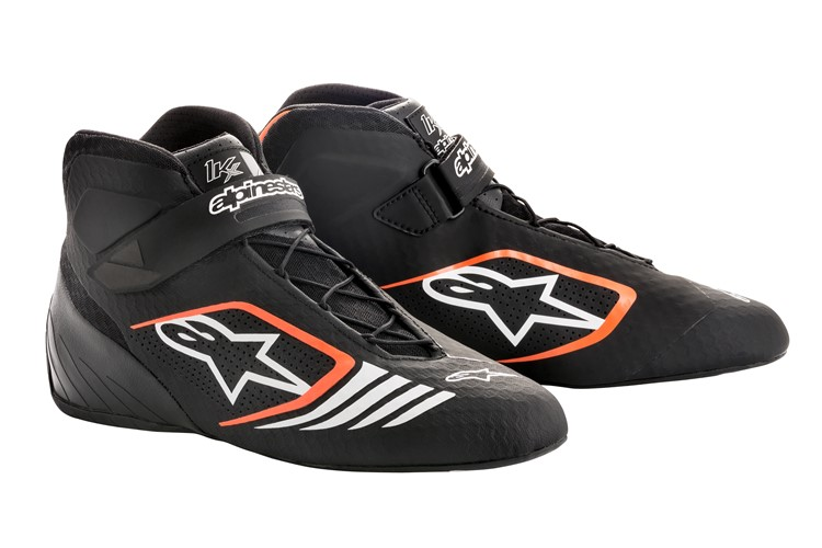 Alpinestars Karting Schuhe Tech 1-KX  Schwarz Orange Fluo 44